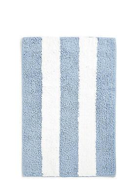 Wide Striped Bath Mat, BLUE, catlanding