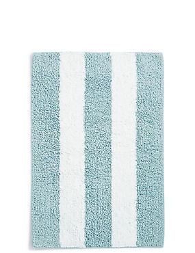 Wide Striped Bath Mat, DUCK EGG, catlanding