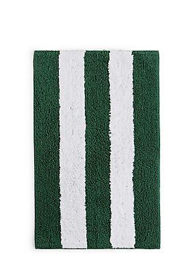 Wide Striped Bath & Pedestal Mats, FOREST GREEN, catlanding