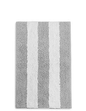 Wide Striped Bath & Pedestal Mats, SILVER GREY, catlanding