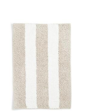 Wide Striped Bath Mat, MOCHA, catlanding