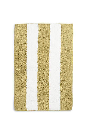 Wide Striped Bath Mat, OCHRE, catlanding