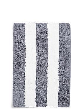 Wide Striped Bath Mat, CHARCOAL, catlanding
