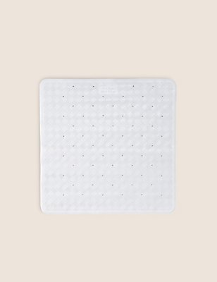 Shower Mat, WHITE, catlanding