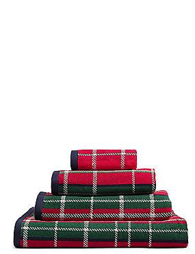 Tartan Towel, RED MIX, catlanding