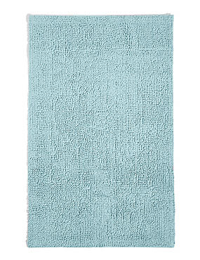 Soft Cotton Bobble Bath & Pedestal Mats, DUCK EGG, catlanding