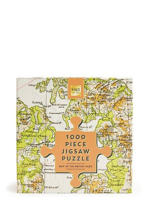 1000 Piece Jigsaw Puzzle British Isles Map, , catlanding