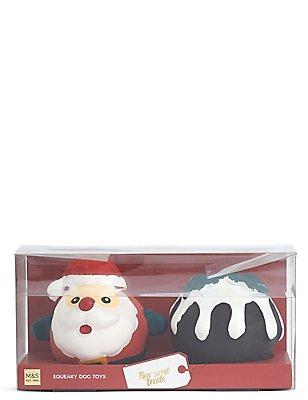 Dog Toy  Pudding And Santa Set, , catlanding