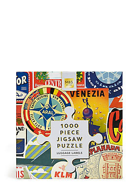 1000 Piece Jigsaw Puzzle Luggage Labels, , catlanding