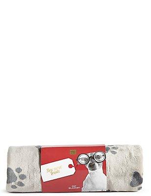 Paw Print Fleece Pet Blanket, , catlanding
