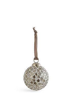 Silver Star Mosaic Bauble, , catlanding