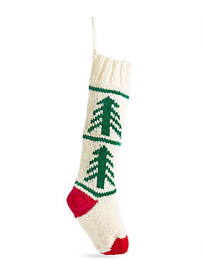 White Knitted Stocking, , catlanding