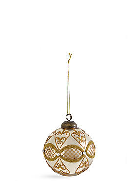 Champagne Micro Bead Glass Bauble, , catlanding