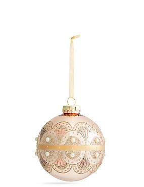 Rose Gold with Pearl Detail Glass Bauble, , catlanding