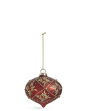 Red Floral Glass Onion Bauble, , catlanding