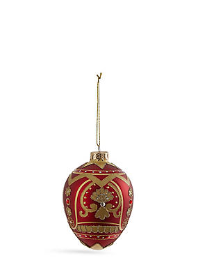 Red Faberge Glass Bauble, , catlanding