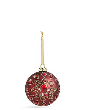 Jewel And Beaded Red Glass Bauble, , catlanding