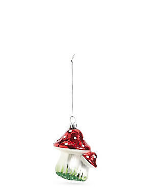 Red Mushrooms Glass Bauble, , catlanding