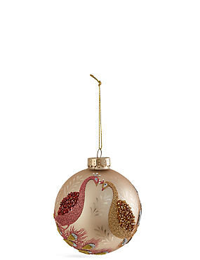 Plum & Gold Peacock Glass Bauble, , catlanding