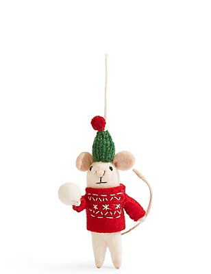 Felt Mouse with Snowball, , catlanding