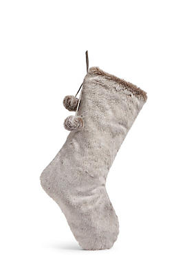 Luxury Faux Fur Stocking, , catlanding