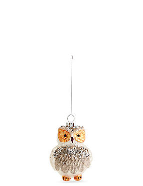Glass Owl Bauble with Glitter, , catlanding