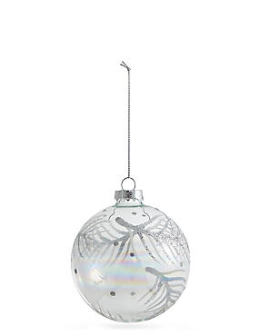 Clear Glass Bauble With Glitter Feather Design, , catlanding