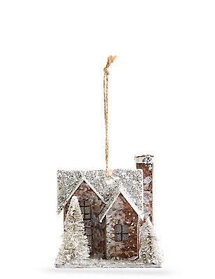 Rustic Light Up House With Glitter, , catlanding