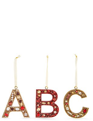 A-Z Hanging Boutique Jewel Alphabet Baubles, NO COLOUR, catlanding