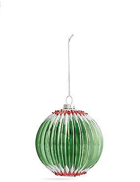 Green Zig Zag Glass Bauble, , catlanding