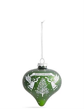Green Angel Glass Bauble, , catlanding