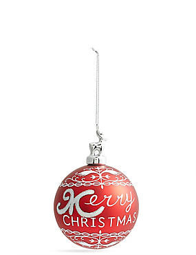 Red Merry Christmas Glass Bauble with Stag Cap, , catlanding