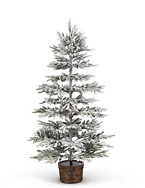 7Ft Snowy Potted Christmas Tree, , catlanding