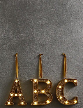 A-Z Hanging Lit Gold Alphabet Baubles, GOLD, catlanding