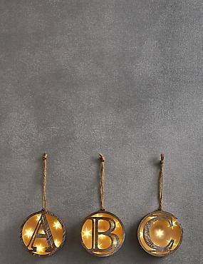 A-Z Light-up LED Wooden Alphabet Baubles, NO COLOUR, catlanding