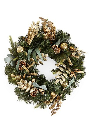 Gold Bauble Wreath, , catlanding
