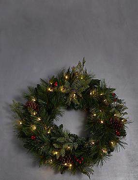 Large Winterberry Light-up Wreath, , catlanding