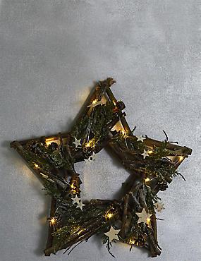 Star Light Up Wreath, , catlanding