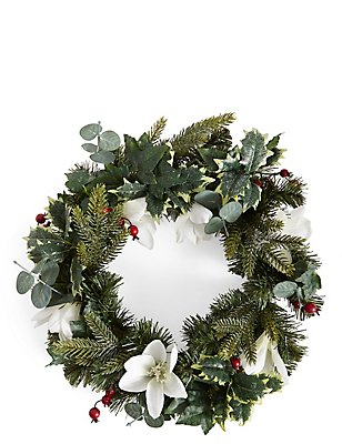 White Floral Wreath, , catlanding