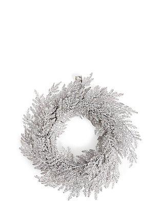 Kranz aus silbernen Glitzerblättern, , catlanding