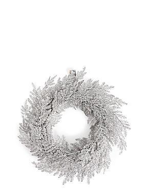 Silver Glitter Leaf Wreath, , catlanding