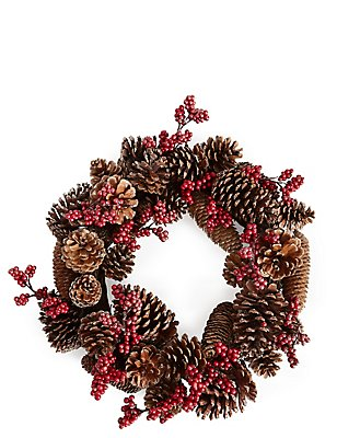 Pinecone And Berry Wreath, , catlanding