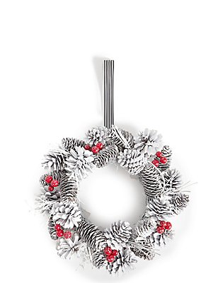 White Pinecone Wreath, , catlanding