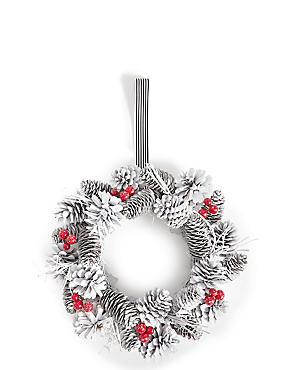 White Pinecone Wreath, , catlanding