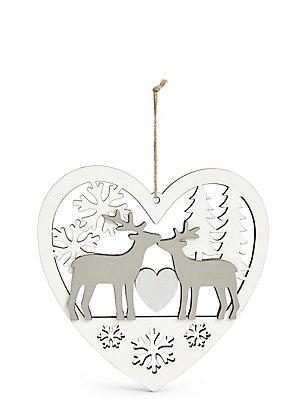 Panneau en bois à motif cerfs en forme de coeur à suspendre, , catlanding