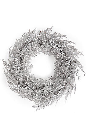 Large Silver Glitter Wreath with Berries, , catlanding
