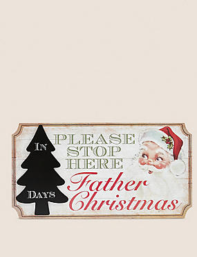 Hanging Retro Santa Sign, , catlanding