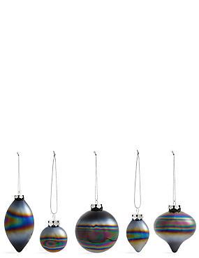 Set of 20 Luxury Monochrome Glass Tree Decorations, , catlanding