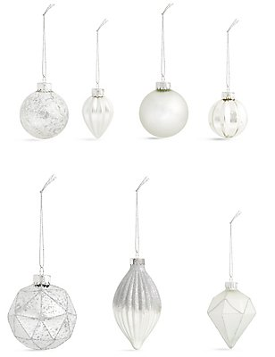 Set of 20 Luxury Silver Glass Baubles, , catlanding
