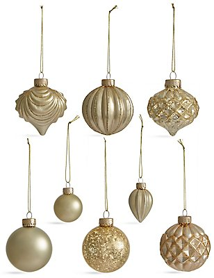 Set of 20 Luxury Gold Glass Tree Decorations, , catlanding